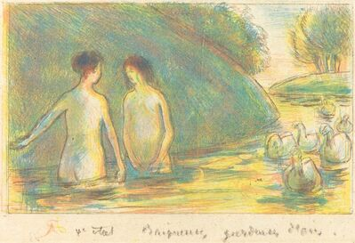 Camille Pissarro, 'Baigneuses, gardeuses d'oies (Bathers Tending Geese)', ca. 1895