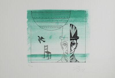 Joan Ponç, 'Cabeza, silla y pájaro', 1967