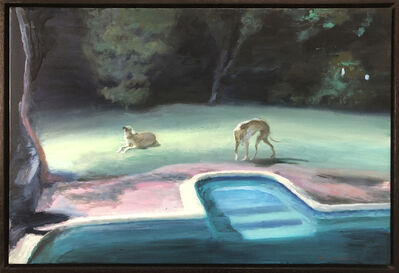 Clare Menck, 'Two greyhounds in the moonlight', 2019