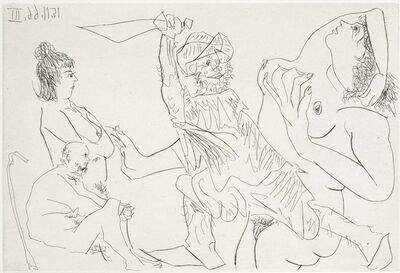 Pablo Picasso, 'Man in Slippers Threatening a Naked Woman In Front of Two Elderly Spectators (El Entierro del Conde de Orgaz, B.1466)', 1969