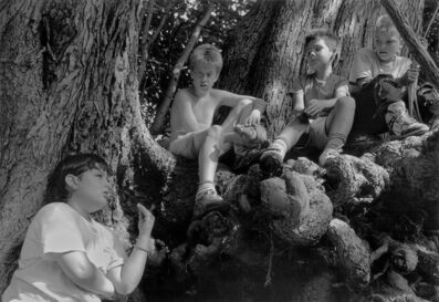 Mark Steinmetz, 'Enfield, CT (Boys Around Tree Trunk)', 1990