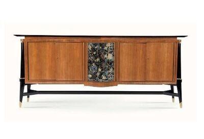 Batistin Spade, 'Fine and Rare Cabinet with Eglomisé Frontispiece Depicting Birds', ca. 1960s