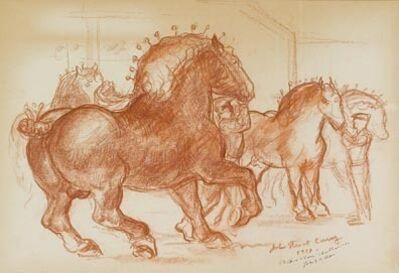 """John Steuart Curry, 'Study for """"Prize Stallions"""" ', 1937"""