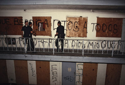 Joseph Rodriguez, 'At an abandoned Westlake motel near Skid Row, de facto living quarters for dozens of people without homes, CRASH (Community Resources Against Street Hoodlums) Unit officers search for a murder suspect, LAPD 1994', 1994