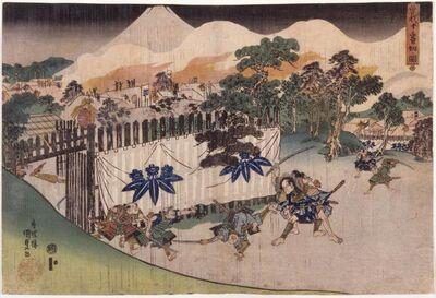 Utagawa Toyokuni III (Utagawa Kunisada), 'The Soga Brothers Cutting Down Ten [Retainers of Kudō Suketsune] (Soga jūban kiri no zu)', about 1832