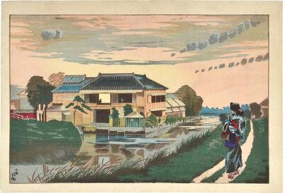 Kobayashi Kiyochika 小林清親, 'Sunset at Yanagishima ', ca. 1877-78