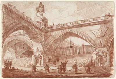 Hubert Robert, 'Architectural Fantasy with a Triumphal Bridge', ca. 1760