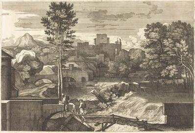 Sébastien Bourdon, 'Landscape with Two Figures on a Bridge'