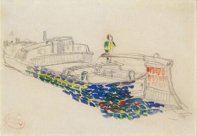 Henri-Edmond Cross, 'Bargeman, recto; and Sketch of a Barge: a double-sided drawing'
