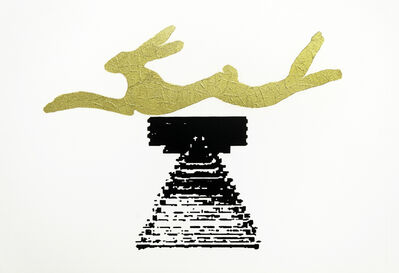 Barry Flanagan, 'Leaping Hare Print with Gold Leaf ', 1991