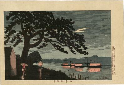 Kobayashi Kiyochika 小林清親, 'Rain and Moonlight at Gohonmatsu  (Gohonmatsu Amenotsuki)', 1880