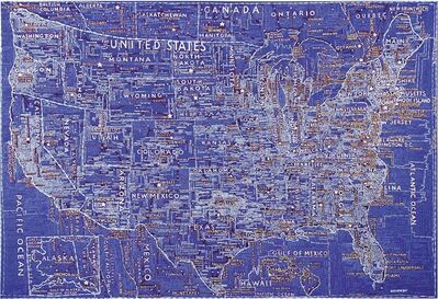 Paula Scher, 'The United States (Blue)', 2007