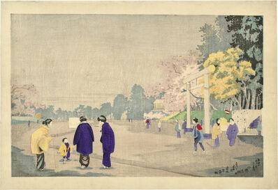 Kobayashi Kiyochika 小林清親, 'Painter Sketching in Ueno Park', ca. 1876