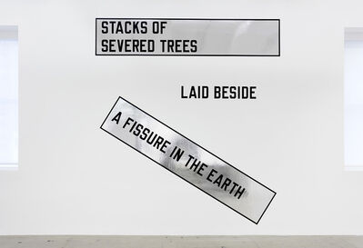 Lawrence Weiner, 'STACKS OF SEVERED TREES LAID BESIDE A FISSURE IN THE EARTH', 2007
