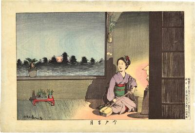 Kobayashi Kiyochika 小林清親, 'Summer Moon at Imado', ca. 1881