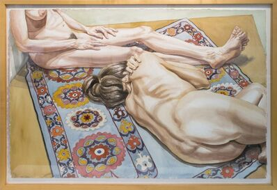 Philip Pearlstein, 'Two Models Against a Wall and Lying on a Rug', 1980