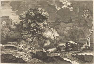 Sébastien Bourdon, 'Landscape with a Frightened Waggoner'