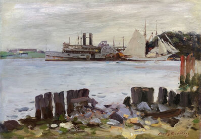 Irving Ramsey Wiles, 'Paddle Wheeler and Schooner on the River', ca. 1910–1915
