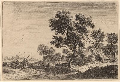 Anthonie Waterloo, 'Three Peasants on a Knoll outside a Hamlet'