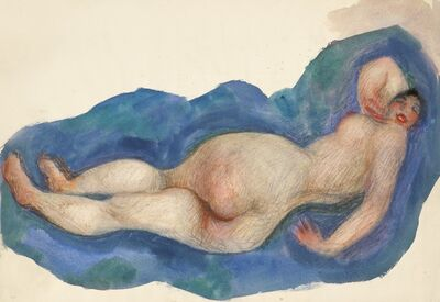 Alfons Walde, 'Reclining Nude with Red Mouth', ca. 1919