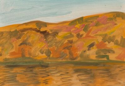 Lois Dodd, 'N. Hampshire Mountains & the Conn. River near Kendall', 1990