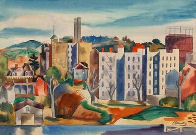 Jan Matulka, 'VIEW OF THE BRONX Watercolor American Modern Modernism NYC 20th Century Drawing', ca. 1920s