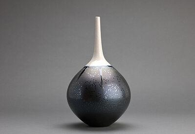 Hideaki Miyamura, 'Teardrop vase, triangle crystalline glaze with snow cap'