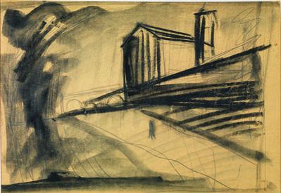 Mario Sironi, 'Paesaggio Con Chiesa'