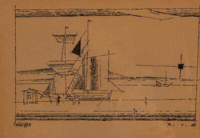 Lyonel Feininger, 'A Sailing Ship at a Dock', 1942