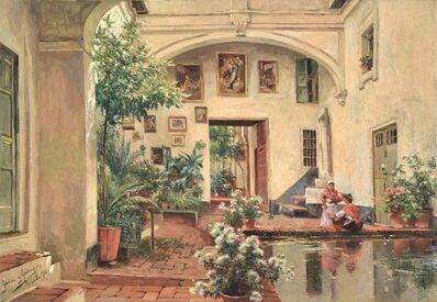 Manuel García y Rodríguez, 'A courtyard in Sevilla', 1918