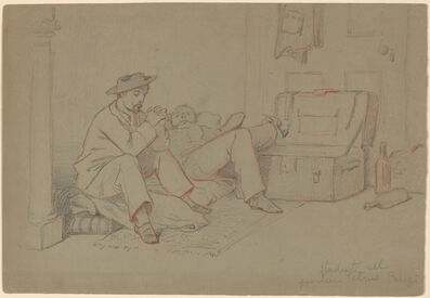 Elihu Vedder, 'Students in the Latin Quarter, Paris', ca. 1858