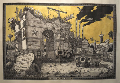 Sandow Birk, 'American Procession (Central Monument panel)	', 2017