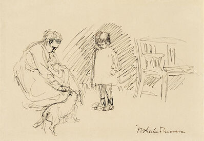 Max Liebermann, 'Spiel im Garten – Maria, die Enkelin des Künstlers mit ihrer Kinderfrau und dem Dackel ihrer Großeltern im Wannseegarten', ca. 1920