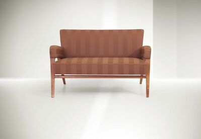 Franco Albini, 'a sofa with a wooden structure and fabric upholstery', 1945