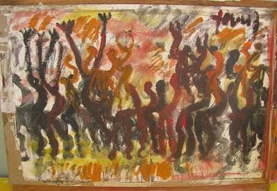 Purvis Young, 'Purvis Young, Freedom, Painting on Paper on Wood', ca. 1990