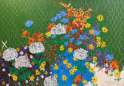 """Teddy Benfield, '""""Untitled (Pile of Flowers / Fence)""""', 2021"""