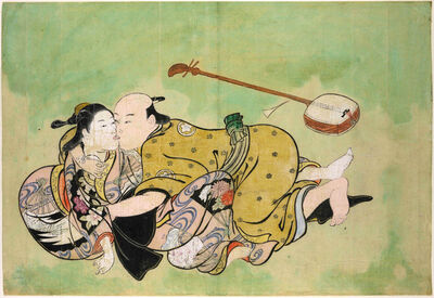 Nishikawa Sukenobu, 'Sexual dalliance between man and geisha', ca. 1711-16