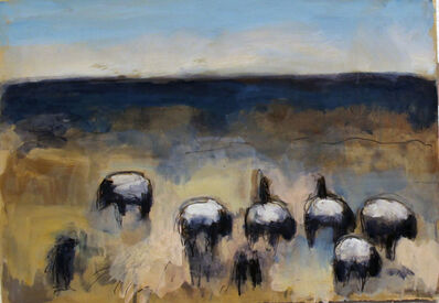 Theodore Waddell, 'Sheep and Blackbirds Dr. #1'