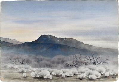Kakunen Tsuruoka, 'untitled (mesquite and brush under dark lapis blue mountain)', ca. 1942-44