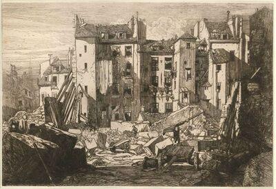 Maxime Lalanne, 'Démolitions pour le percement de la rue des écoles', 1862