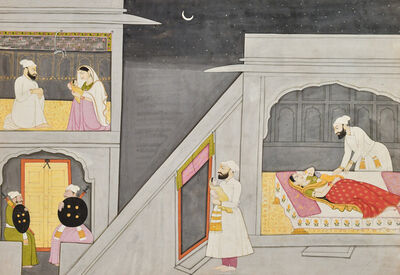 Purkhu, 'Illustration to the Nala Damayanti: The Birth of Krishna', ca. 1800