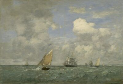 Eugène Boudin, 'Ships and Sailing Boats Leaving Le Havre', 1887