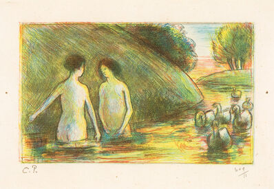 Camille Pissarro, 'BAIGNEUSES GARDEUSES D'OIES (Bathing Women Tending Geese)', ca. 1895