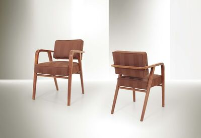 Franco Albini, 'a pair of chairs with a wooden structure and fabric upholstery', 1945