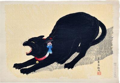 Hiroaki Takahashi (Shotei), 'A Threatening Black Cat', ca. 1929