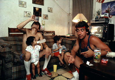 Joseph Rodriguez, 'Peter drinks a beer with a friend as his children watch TV, Spanish Harlem, NY', 1987