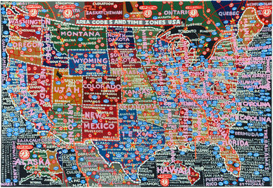 Paula Scher, 'Area Codes and Time Zones', 2015