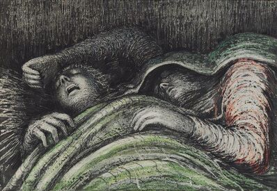 After Henry Moore, 'Pink and Green Sleepers'