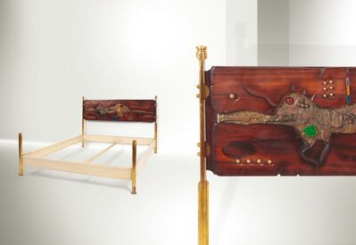 Arnaldo Pomodoro, 'a bed with a lacquered metal structure and brass stands', 1962