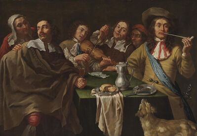 Gregorius Oosterlinck, 'A tavern interior with soldiers merrymaking around a table'